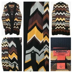 Missoni Brown Chevron Cardigan Zig Zag SWEATER